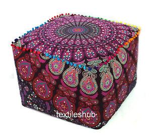 "22"" Indian Peacock Mandala Square Ottoman Pouf Cover Footstool Home Decor Seat"