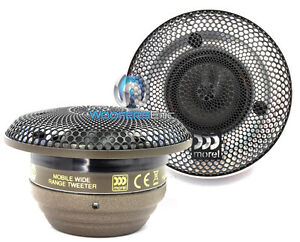 """MOREL SUPREMO PICCOLO 220W RMS 1.1"""" SOFT DOME EXOTIC LOTUS GRILLE CAR TWEETERS"""