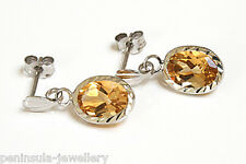 9ct White Gold Citrine Drop Earrings Gift Boxed