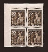 Nazi Germany Third 3rd Reich B+M 1944 Adolf Hitler 55th birthday stamp block MNH