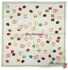 LADUREE French Paris HEARTS Charms Macarons Multicolor Scarf White U.S. SELLER
