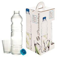 Pasabahce Glass Bottle & 6 Glasses Ribbed Design Set Water Juice Summer Cool