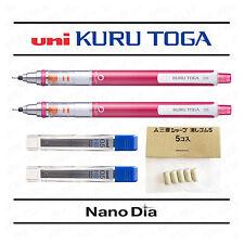 2 X Uni Kuru Toga lápiz mecánico 0.5mm - metálico rosa + 24 Cables + 5 gomas de borrar
