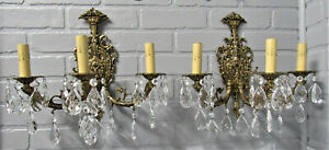 "Vintage Antique Large Pair High Quality Spanish Brass Sconces 14"" T by 14"" W"