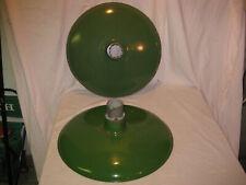 "2 RARE Antique 20"" Green Porcelain Barn / Gas Station Light Lamp Shade Fixtures"