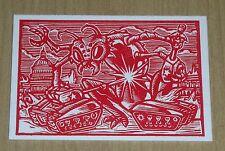 2015 Topps Mars Attacks Occupation KS Tank Crush Letterpress Woodcut art MA-LP 2