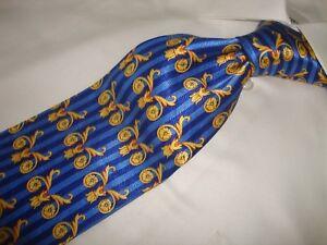 """Gorgeous Laurent Benon Paris 60"""" Blue & Gold 100% silk neck tie - TIE"""