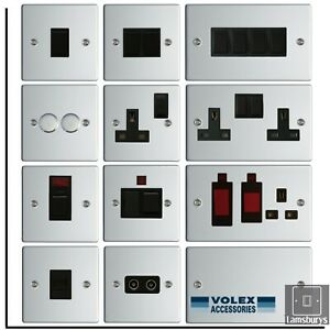 Volex Flat Polished Mirror Chrome Steel Light Switches and Electrical Sockets