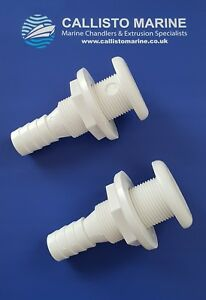 """2 X BSP Plastic Thru Hull Skin Fitting 3/4"""" 19MM With Hosetail / Hose Tail Boat"""