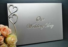 Wedding Day Silver Guest Book With Silver Diamante Hearts & Stylish Silver Pen,