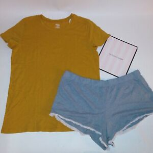 Victoria Secret Pajama Set Large Top & XL Bottom T Shirt Shorts Golden Yellow