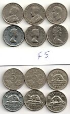 (F5) 6 x 5 CENTS_1923, 1932, 1941, 1954, 1961, 1973, Coins,Canada