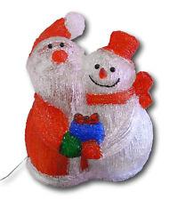 Schneemann + Weihnachtsmann beleuchtet Außenbeleuchtung Deko Weihnachten 60 LED