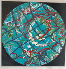 "12"" Lp Mounted Art Acrylic Paint Pour Painting Teal Web Red Green Blue Black"
