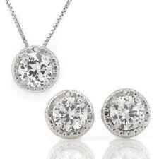 PENDANT & EARRINGS SET W/CREATED DIAMOND & GENUINE DIAMOND 925 STERLING SILVER