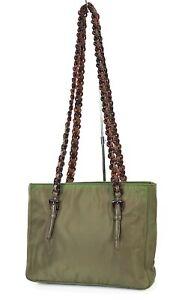 Authentic PRADA Green Nylon and Leather Plastic Chain Shoulder Bag Purse #39595B
