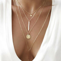Gold Tone Multi-Layer Disc Choker Collar Pendant Chain Drop Necklace Women Gift