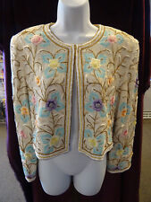 Stunning 1970's Judith Ann Creations Silk Trophy Jacket, White & Floral Pattern