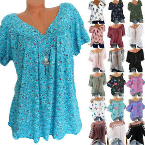 Plus Size Womens Boho Floral Blouse Tops Ladies Loose Fall Summer Beach T Shirts