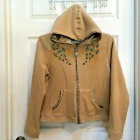Cripple Creek Fleece Zip Jacket Hoodie w/ Turquoise stones beads Large