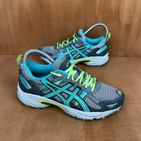 Asics Gel-Venture 5 Running Shoe Silver Grey Blue Turquoise Lime Green Womens 6