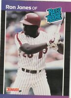 FREE SHIPPING-MINT-1989 Donruss Philadelphia Phillies #40 Ron Jones RATED ROOKIE