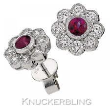 Butterfly Fastening Cluster Ruby White Gold Fine Earrings