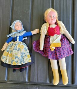 """Vintage Nora Wellings Cloth Doll Welsh 8.5"""" & Polish Ethnic Cloth Doll 12"""" lot 2"""