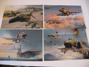 Lot of 4 Robert Taylor F-4 and F-16 Aircraft Advertising Brochures