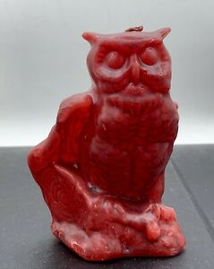 """Vintage MCM OWL Blood Red  Wax WICK CANDLE. BEAUTIFUL DETAIL 4 3/4"""" TALL"""