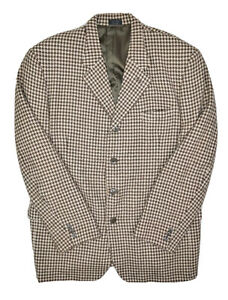 R Raspinni Uomo Wool Blazer Mens 48 Houndstooth Print Sport Coat Mongolian