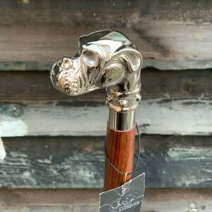 MENS GENTLEMENS CLASSIC ANTIQUE DOG WALKING STICK CANE HANDLE SILVER FINISH NEW