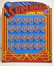 SUPERMAN LAPEL PIN COUNTER DISPLAY Complete w 24 Pins Enesco Imports 1987
