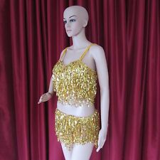 Da Neena R37 Gold Latin Salsa Dance Belly Girl Pageant Sequin Pants Costume S