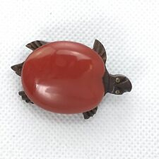 Vintage Hand Carved Dark Wood Turtle Tortoise Brooch Pin Red Plastic Figural
