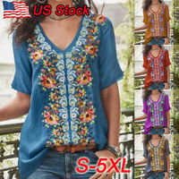 Women Boho Short Sleeve V Neck Floral Loose Blouse Casual Top T-shirt Plus Size