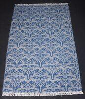 Blue Beige Modern Wool Rug Floral Kilim Decorative Area Rug 4x6 Feet DN-1404
