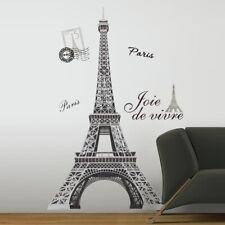 "56"" GIANT BLACK & SILVER EIFFEL TOWER Wall Decals Paris Stickers Modern Decor"