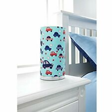 Kids Printed Cylinder Table Lamp - Boys Blue Cars