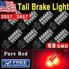 8x Pure Red 3157 High Power Brake Tail Stop LED Bulbs 68-SMD 3057 3457 2015 NEW