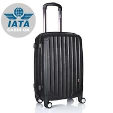 Hard Shell Cabin Case Suitcase Luggage 4 Double Spinner Wheels Lightweight Black