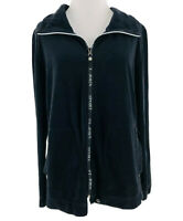St. John Sport Women's Black Cotton Blend Zip-Up Velour Jacket Size Small