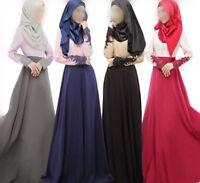 Lace Cuff Kaftan Abaya Muslim Jlibab Islamic Long Sleeve Maxi Dress Arab Clothes