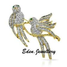 Absolutely Gorgeous RUCINNI Brooch Twin Bird on Branch Genuine Crystal Imported