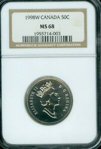1998W CANADA 50 CENT NGC MS68 DEAL