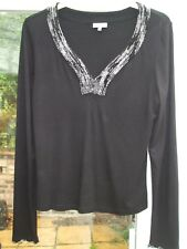 Gorgeous Black Sparkly Beaded Detail Lightweight Top- PER UNA- Size 16