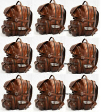 5pcs Men Vintage Genuine Leather Backpack Shoulder Messenger Travel Bag Rucksack