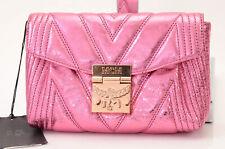 MCM pink leather metallic quilted logo fanny pack belt handbag purse NEW $950