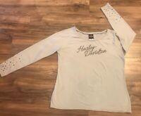 Harley Davidson Woman's Long Sleeve Shirt XL Cream Thunderbird Alburquerque  NM