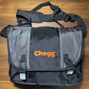 """Messenger Bag Laptop Bag Black Grey fits 17"""" laptop 20 pockets Chegg techie gift"""